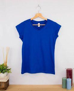 Camiseta clásica cuello en V Mujer (7)
